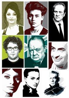 Celebrity Portraits Free Vector
