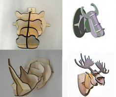 4 Animal Head 3D Puzzle 4mm Free Vector