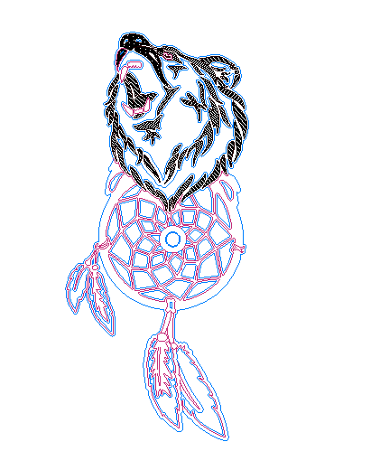 накладка под дверную ручку медведь DXF File