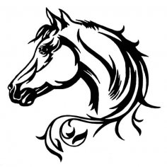 Elegant Horse Head Car Decal dxf File
