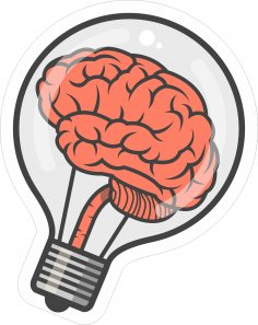 Brain Bulb Sticker Free Vector