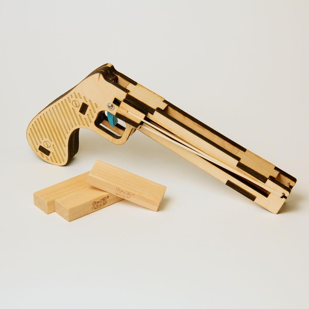 Wooden Laser Cut Jenga Pistol DXF File