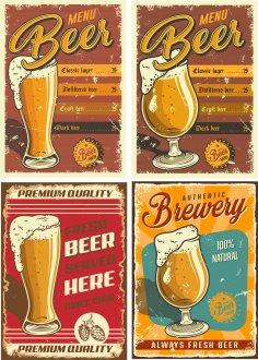 Retro Beer Posters 2 Free Vector
