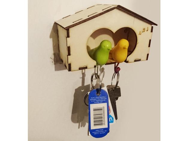 Key Holder Bird House Laser Cut Free Vector