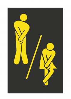 Cute Man Woman Washroom Toilet WC Sticker