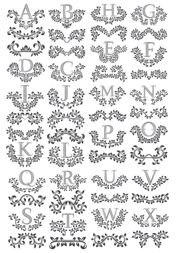 Floral Letters Free Vector