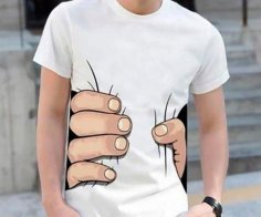 Big Hand Squeeze T Shirt Design Vector Free Vector