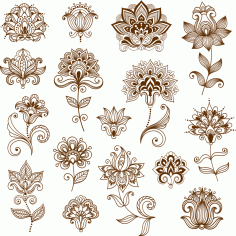 Collection of mehndi style ornamental flowers CDR File