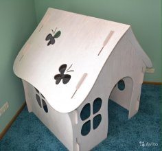 Laser Cut House 3D Puzzle Free Vector