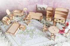 Doll Furniture Laser Cut 3D Puzzle CDR File