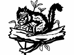 Squirrel and plants dxf File