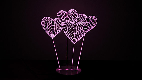 Heart 3D illusion Lamp Free Vector