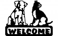 Welcome Sign Dog And Cat dxf File