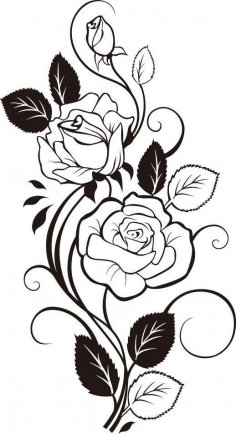 Black And White Flowers Shape Pattern Vector Art jpg Image
