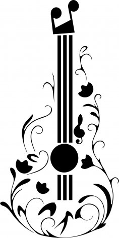 Guitar Tattoo Design Free Vector