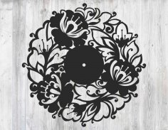 Laser Cut Wall Clock of Flowers Template Free Vector