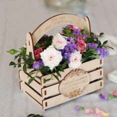 Laser Cut Wooden Flowers Basket Free Vector