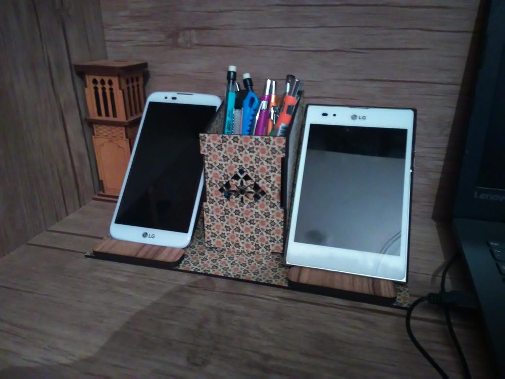 Laser Cut Cell Phone Stand Pencil Holder Organizer Free Vector