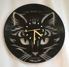 Cat Face Wall Clock Laser Cut Free Vector