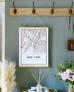 Laser Engraving New York Map Poster Wall Art PDF File