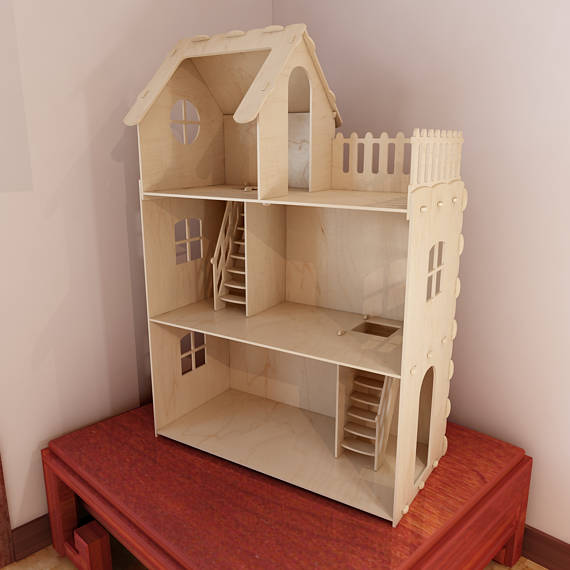 Laser Cut Wooden Dollhouse With 3 Floors DXF File