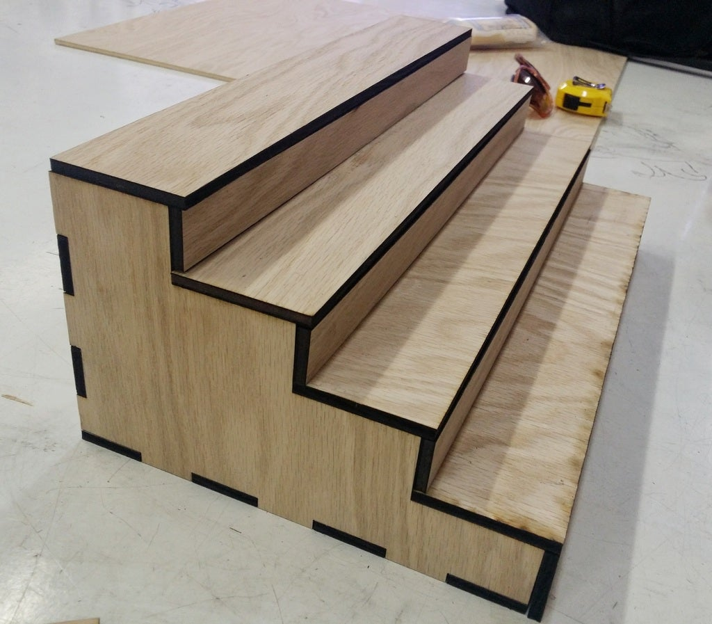 Laser Cut Spice Rack Step Shelf Organizer For Kitchen SVG File