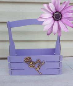 Laser Cut Wooden Decor Basket With Rose Free Vector