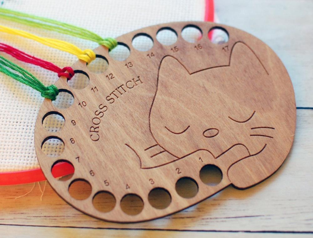 Laser Cut Cat Floss Organizer Thread Holder Free Vector