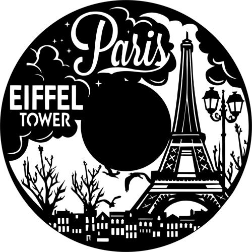 Laser Cut Paris Vinyl Record Clock DXF File