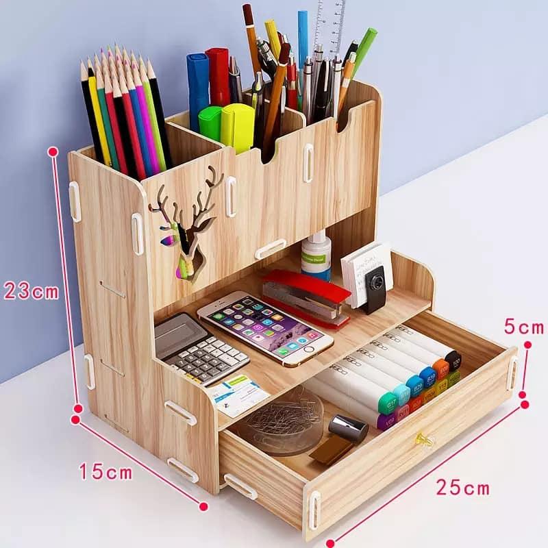Laser Cut Desktop Organizer Multifunctional Pen Holder Desktop Stationary Storage Rack For Home Office Free Vector