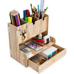 Laser Cut Desktop Organizer Multifunctional Pen Holder Desktop Stationary Storage Rack For Home Office Free Vector