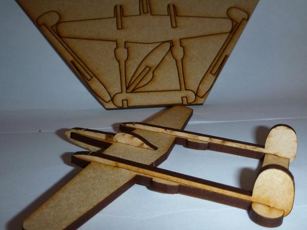 Lasercut P38 Lightning Fighter Aircraft DXF File