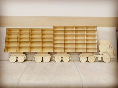 Toy Car Storage Truck Wooden Wall Hanging Rack Laser Cut Template Free Vector