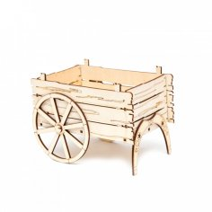Laser Cut Carriage Cart Flower Basket Box Template Free Vector