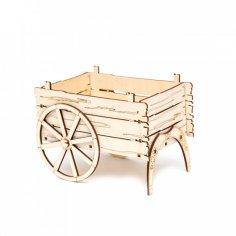 Laser Cut Carriage Cart Flower Basket Box Template Free Vector