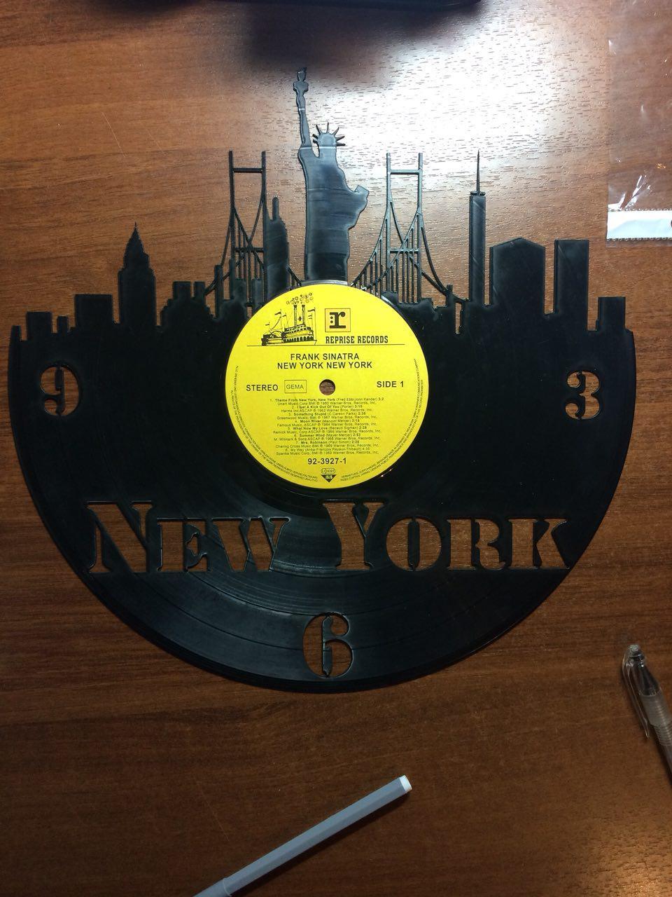New York City Vinyl Record Wall Clock Laser Cut Template Free Vector