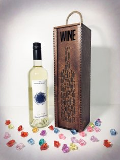 Laser Cut Wine Bottle Wooden Engraved Storage Case With Sliding Lid Free Vector