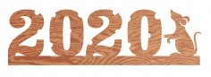 Laser Cut New Year Number 2020 Template DXF File