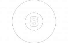 Number Eight 8 in Circle dxf file