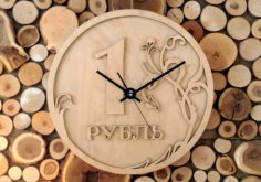 Laser Cut Ruble Wall Clock Free Vector