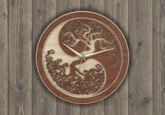 Laser Cut Wall Clock Tree Free Vector