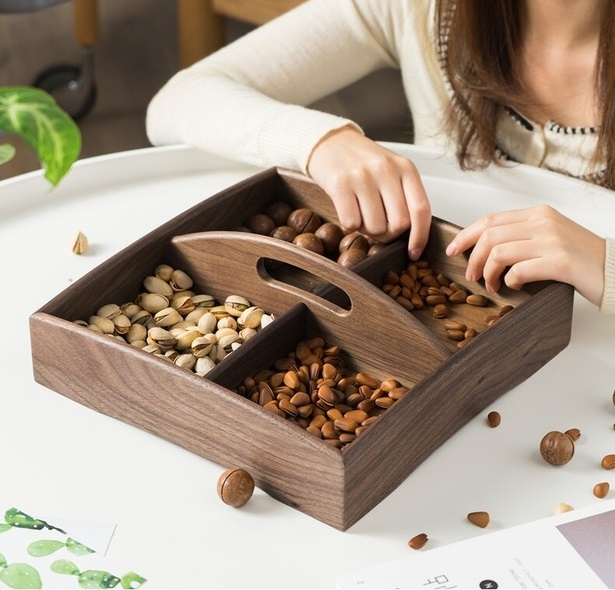 Laser Cut Wood Tray With Handle Snacks Dry Fruit Box Candy Dish Creative Tray Fruit Plate DXF File