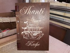 Laser Cut Engraved Leather Menu Cover DXF File