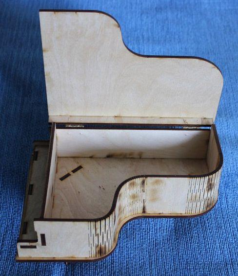 Laser Cut Piano Shaped Gift Box Plywood Free Vector