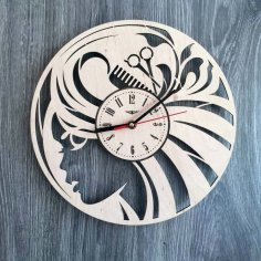 Laser Cut Hair Salon Wall Clock Beauty Salon Wall Art Decor Free Vector