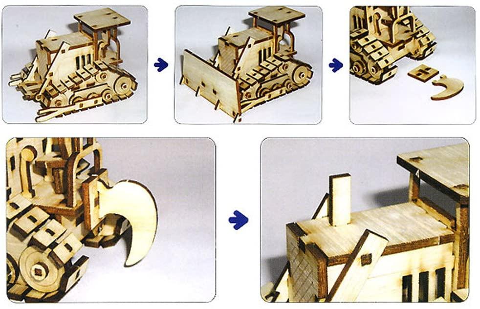Laser Cut Wooden Bulldozer 3D Model Kit Free Vector