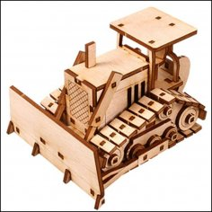 Laser Cut Wooden Bulldozer 3D Model Kit Free Vector