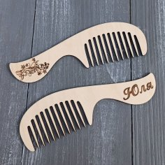 Laser Cut Personalized Wooden Comb Custom Wooden Comb Free Vector