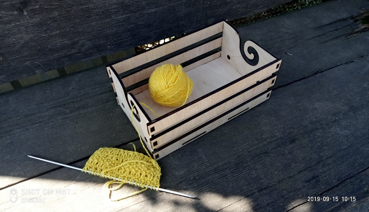 Laser Cut Wooden Yarn Box Crochet Knitting Storage Box Yarn Holder Free Vector