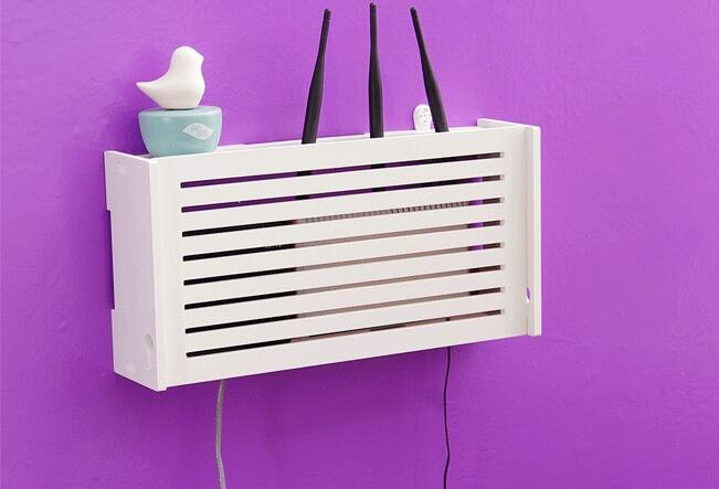 Laser Cut Wifi Router Storage Box Wood Shelf Wall Hangings Bracket Cable Organizer Free Vector